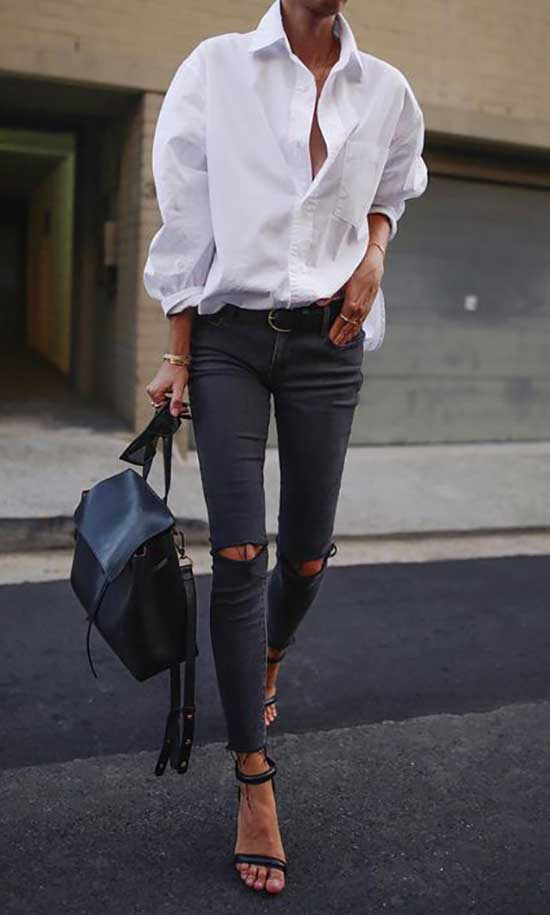 Outfits with Skinny Distressed Jeans