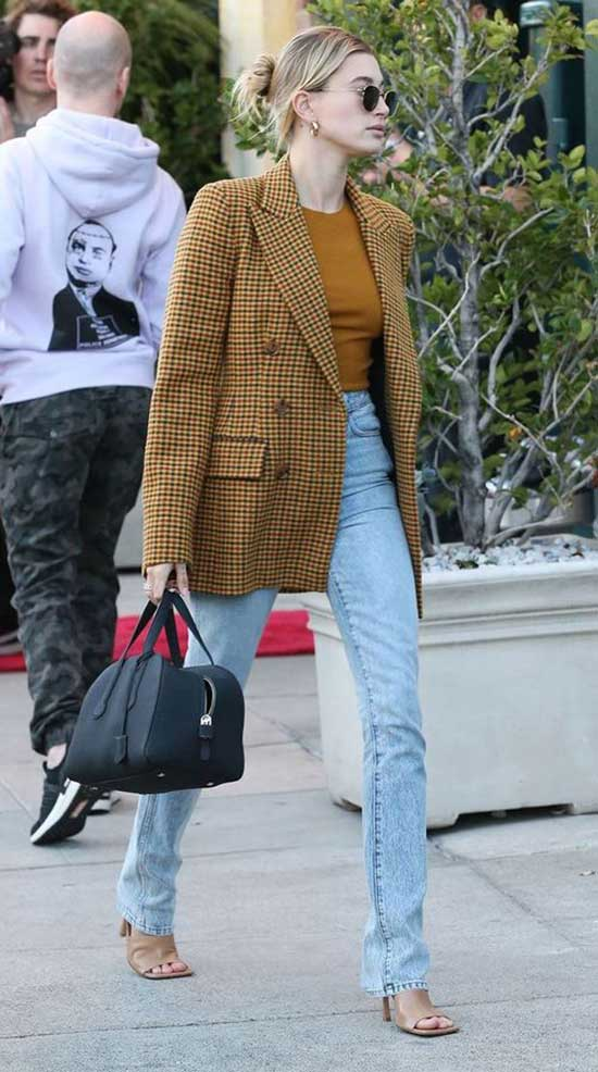 Hailey Bieber Casual Blazer Outfits