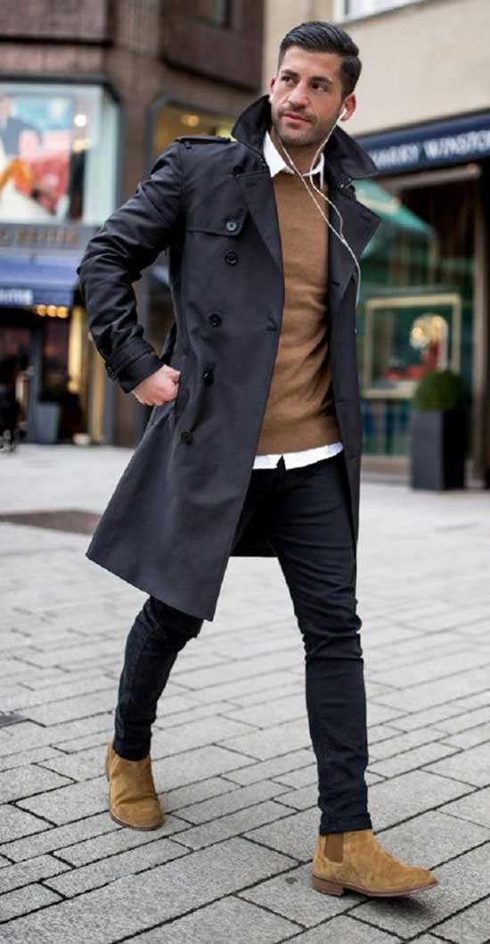 Fall Outfits for Men with Trenchcoat-18