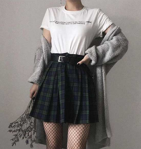 Cute Grunge Outfits with Skirt