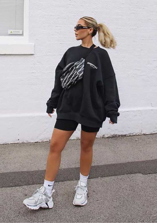 Biker Shorts Outfits with Sneakers