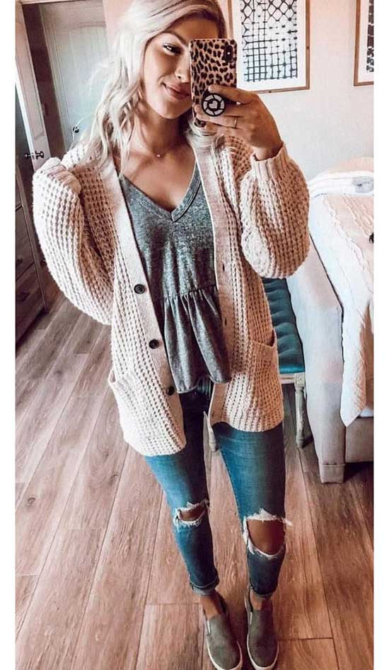 Chunky Cardigan Outfits-9
