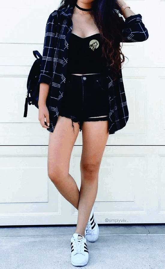 Flannel Shirt Outfit Ideas with Denim Shorts