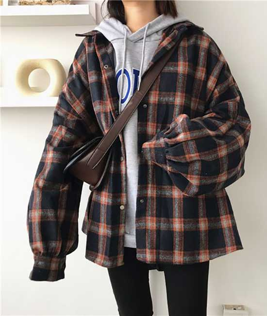 Lantern Sleeve Flannel Shirt Outfit Ideas