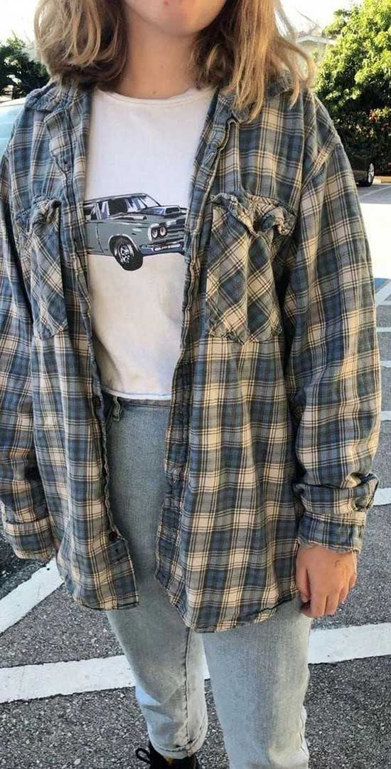 Retro Flannel Shirt Outfit Ideas